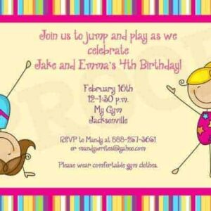 Gymnastics Party Invitation Birthday Favor Printable