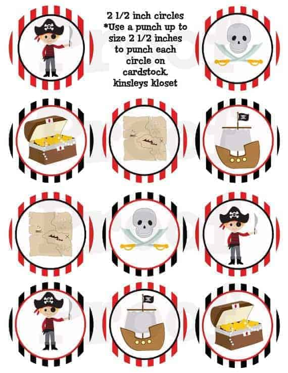 graphic relating to Pirates Printable Schedule called Printable Celebration Circles - Pirate Get together Cupcake Toppers - Pirate Get together Printables - Pirate Birthday Celebration