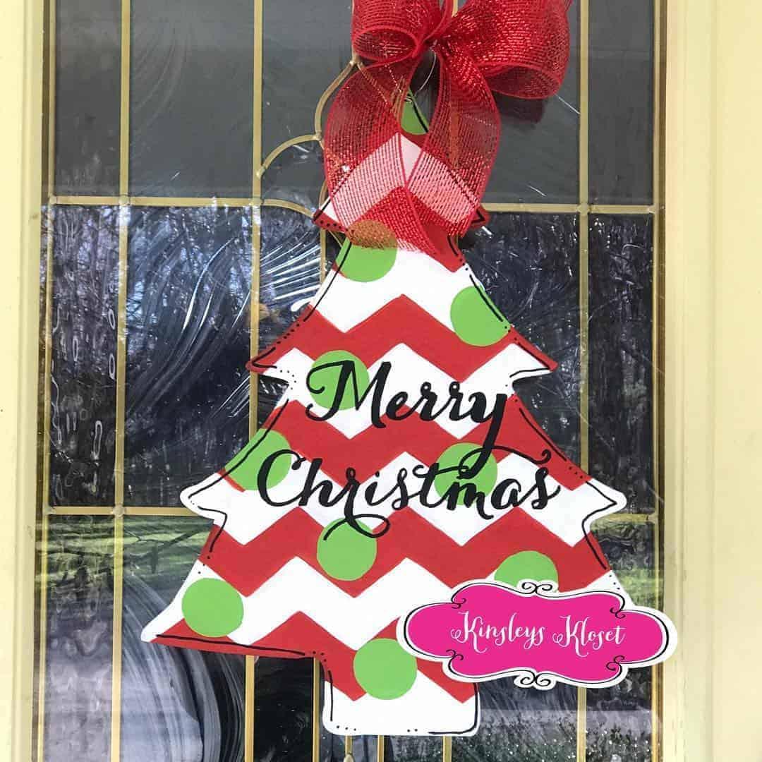 Christmas Tree Wooden Door Hanger Template Downloadable Kinsley S Creative Palette