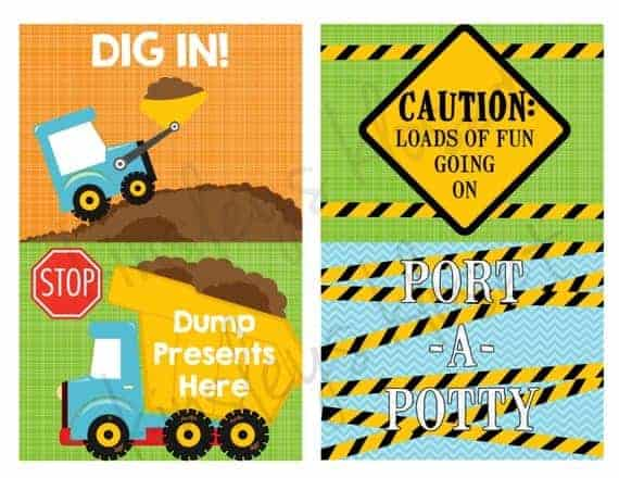 photograph about Printable Construction Signs called Composition Bash Indications-Framework Birthday Get together Signs or symptoms-Dump truck 4 printable signs and symptoms\