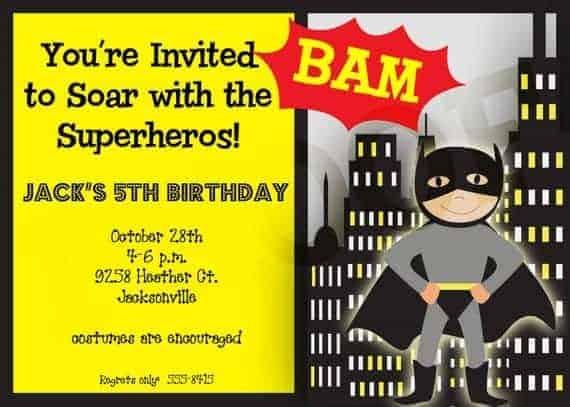 Superhero Party Birthday Invitation Boy Girl Children