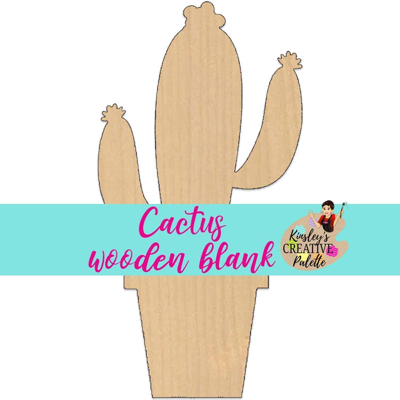 Cactus Wooden Door Hanger Blank