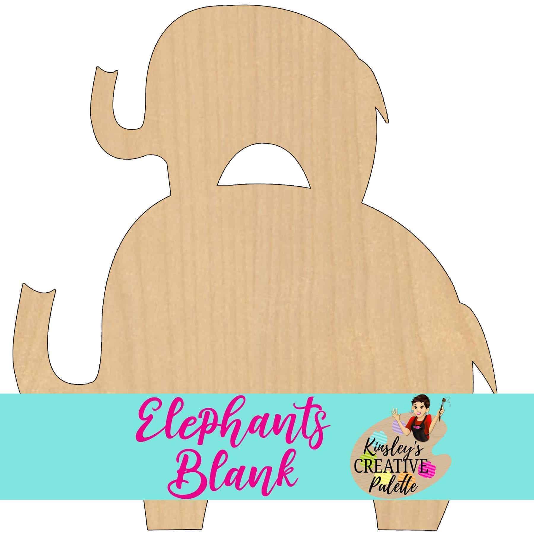 Elephants Wooden Door Hanger Blank