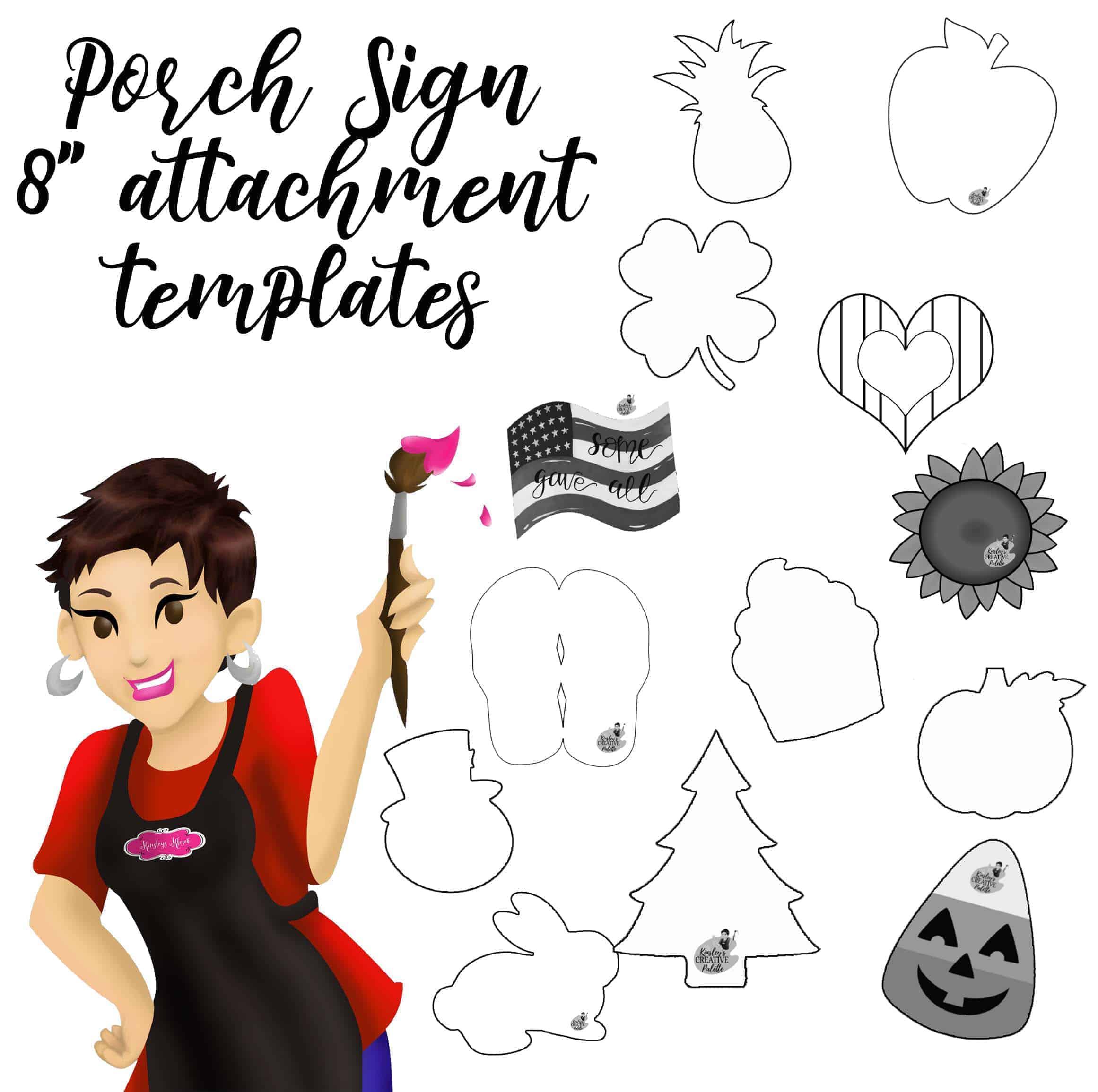 porch sign attachment template set 8 inch
