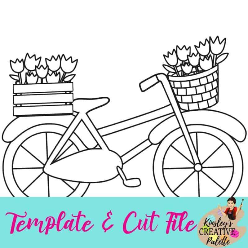 Bike w flowers template and cut file