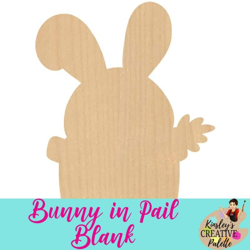 Bunny in Pail Wooden Door Hanger Blank