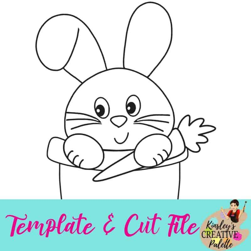 Bunny in Pail Template and Cut File