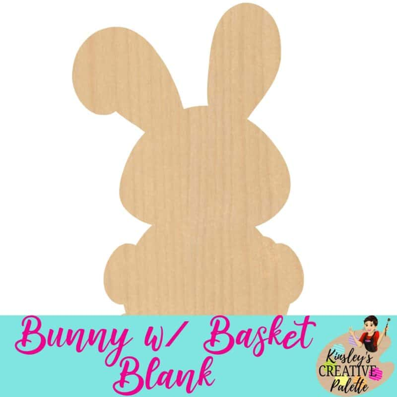 Bunny with basket blank door template