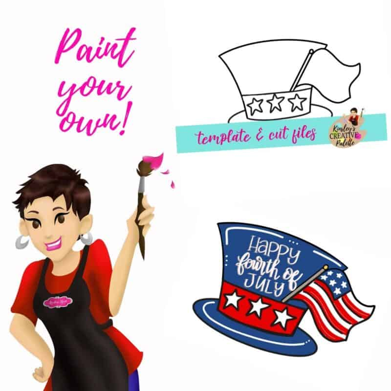 Patriotic Hat 4th July Door Hanger Template
