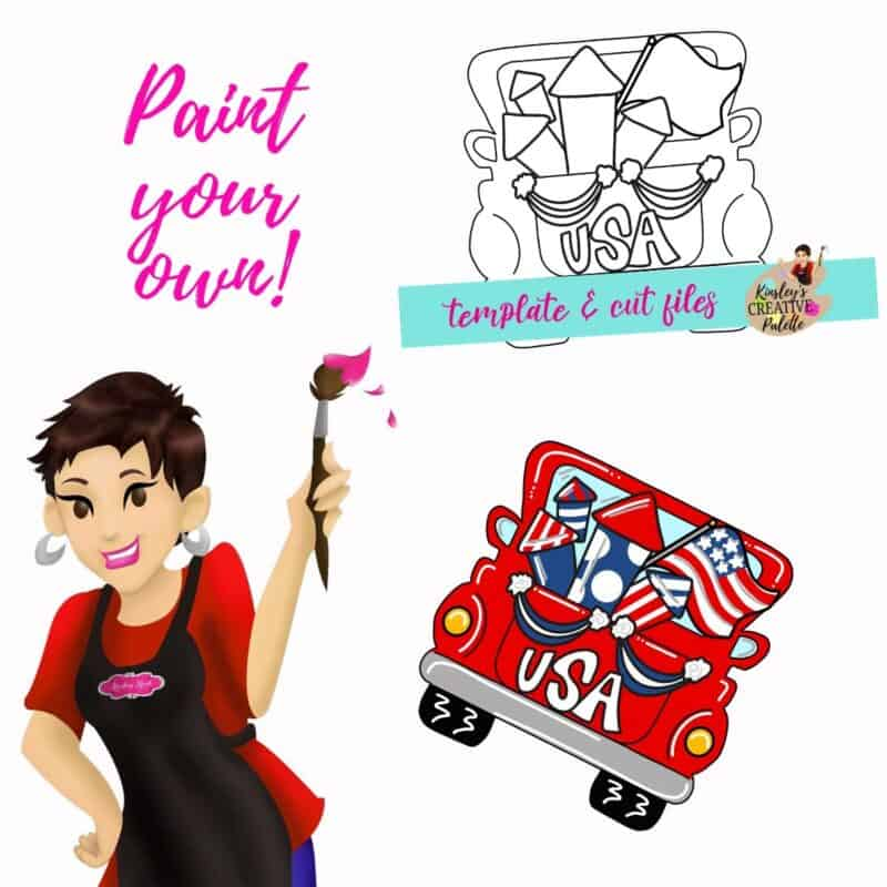4th July Truck Door Hanger Template