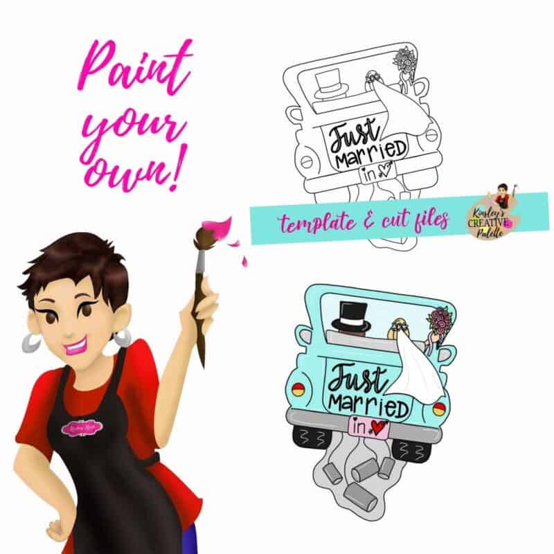 Just Married Truck Door Hanger Template
