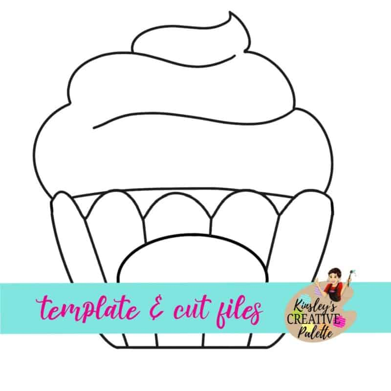 Cupcake with Lettering Door Hanger Template