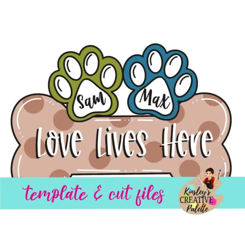 Dog Bone with Paws Door Hanger Template